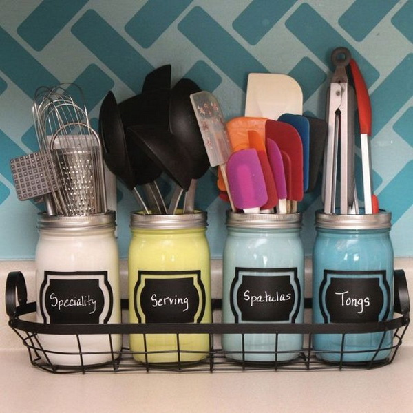 Utensil and Cookware Storage with Mason Jars: Get creative with utensil and cookware storage in small jars. They can also make part of the kitchen décor.