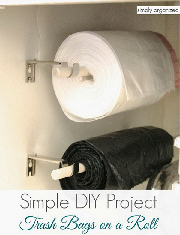 DIY Trash Bags On A Roll: Store your trash bags on a roll under-the-sink space!