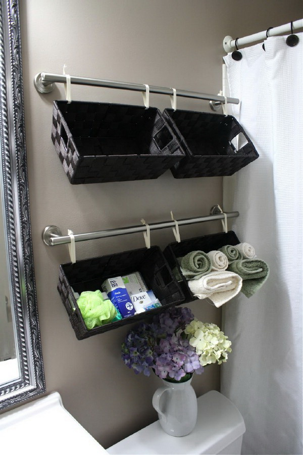 Baskets as Storage for Bathroom Supplies.