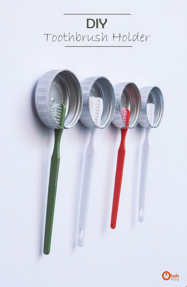 DIY Toothbrush Holder with Recycled Bottle Caps.