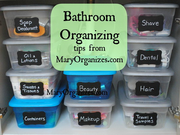 Keep The Undersink Area Organized With These Labeled Plastic Shoe Boxes.