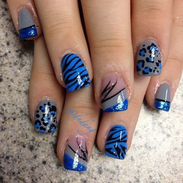 Blue Themed Animal Print Nail Art Design.