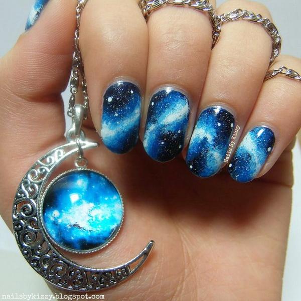 Blue Themed Galaxy Nail Design.