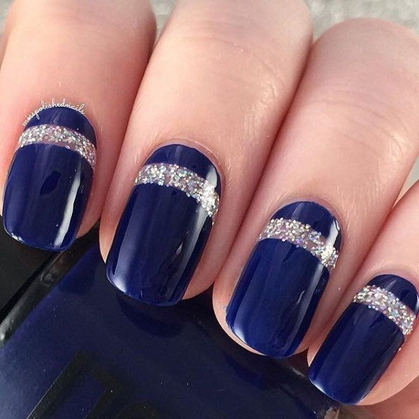 40 blue nail art ideas for creative juice midnight blue nail art design with thick linings of silver glitter for detail prinsesfo Gallery