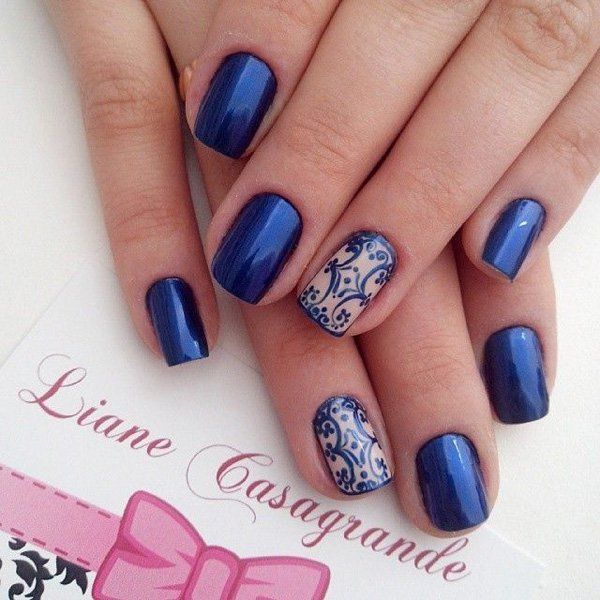 Blue Metallic Nail With Lace Design.