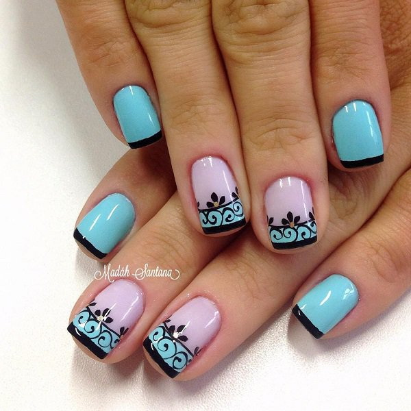 Floral and French Tipped Nail Art Design.
