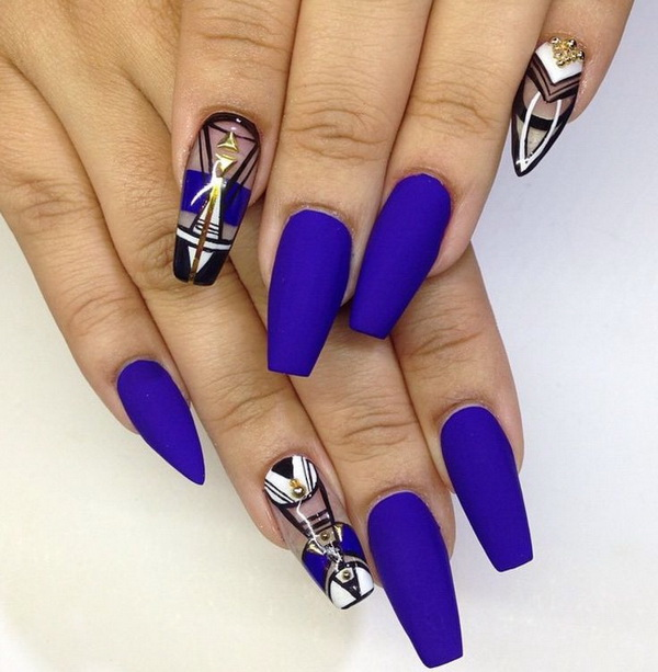 Cobalt Blue Coffin Nails with Negative Space Designs - 40 Blue Nail Art Ideas - For Creative Juice