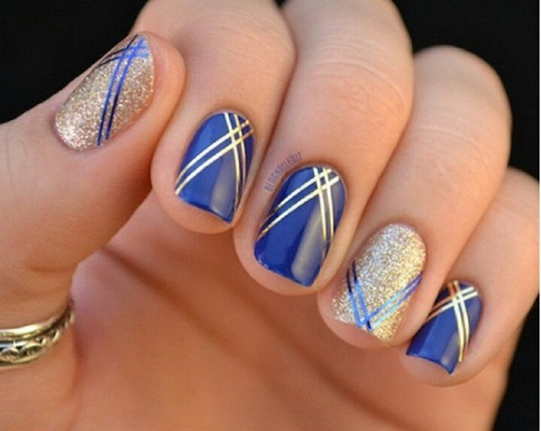 Royal Blue and Gold Strips Nail Art.