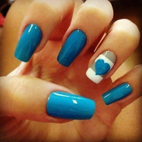 40 blue nail art ideas for creative juice blue and white heart nail design prinsesfo Choice Image