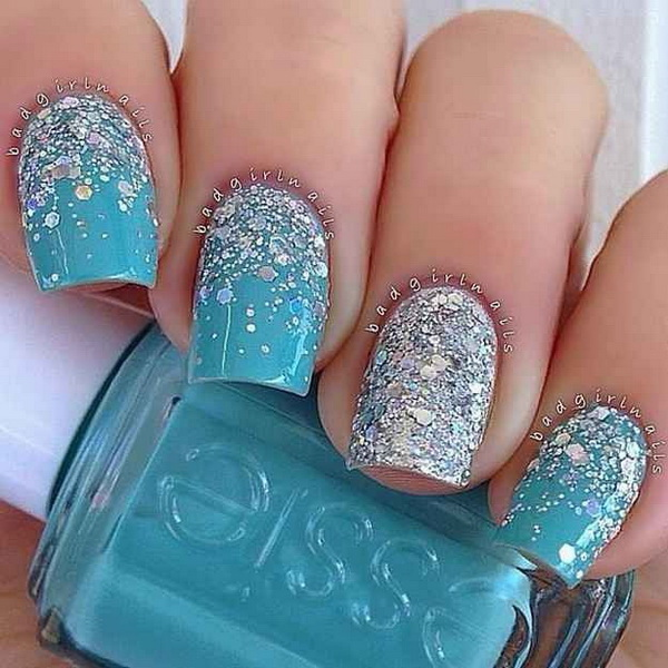 Icy Blue and Silver Nail Art.