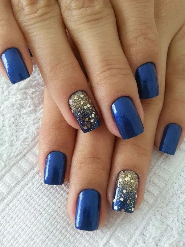 Navy Blue Nail Design with Gold Glitter Sequins for Accent - 40 Blue Nail Art Ideas - For Creative Juice