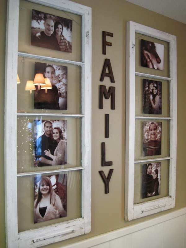 DIY Family Photo Display: A couple of old windows, wooden letters, and family photos are all you need to make this amazing and beautiful home decor item.