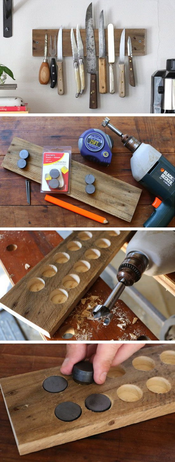DIY Rustic Wall Rack: This exposed magnetic knife rack is super useful for maximizing storage space and providing easy access to kitchen tools.