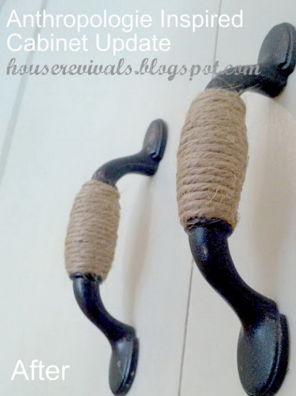 diy twine wrapped cabinet handles simply wrap the handles in twine it gives your