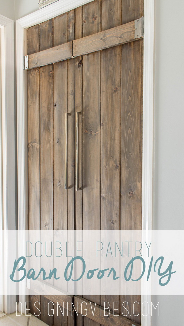 DIY Double Pantry Barn Door: Learn how to built this double pantry doors with reclaimed wood all for under $90 with the tutorial.