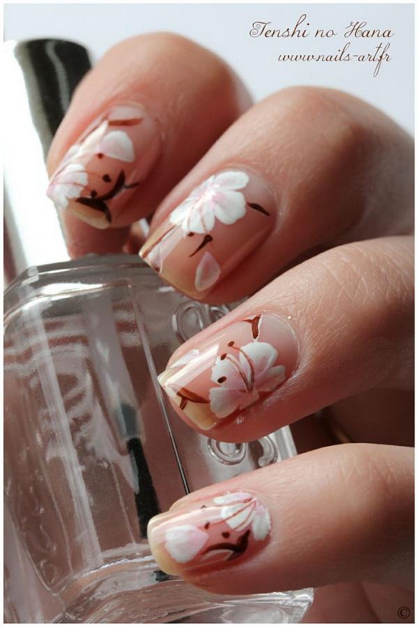 Hibiscus Floral Nail Art Design.