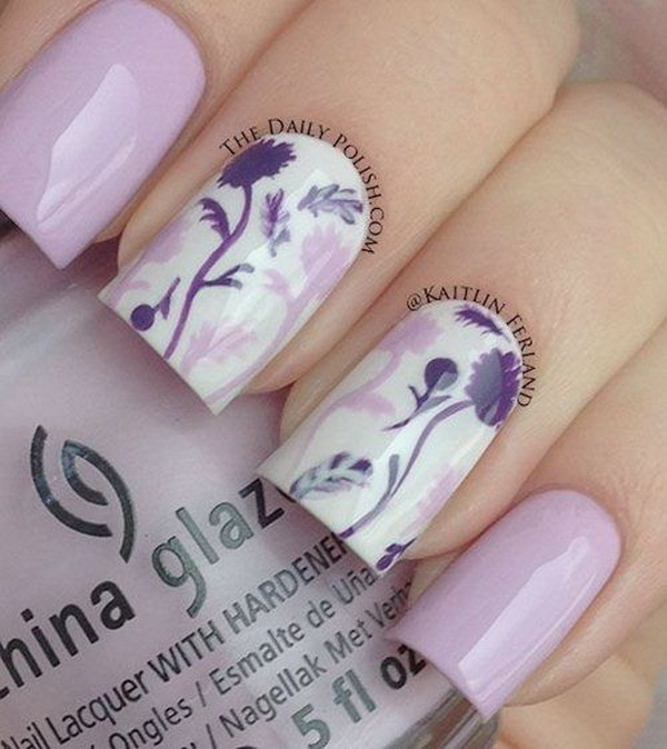 Purple Themed Flower Nails.