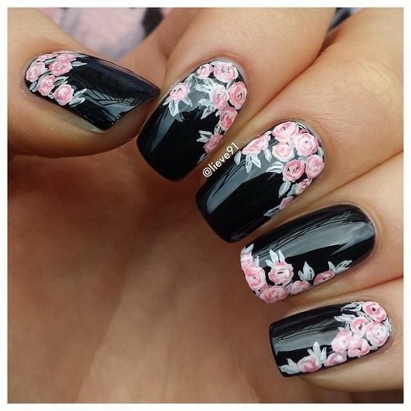 Black Coating Flower Nail Design.