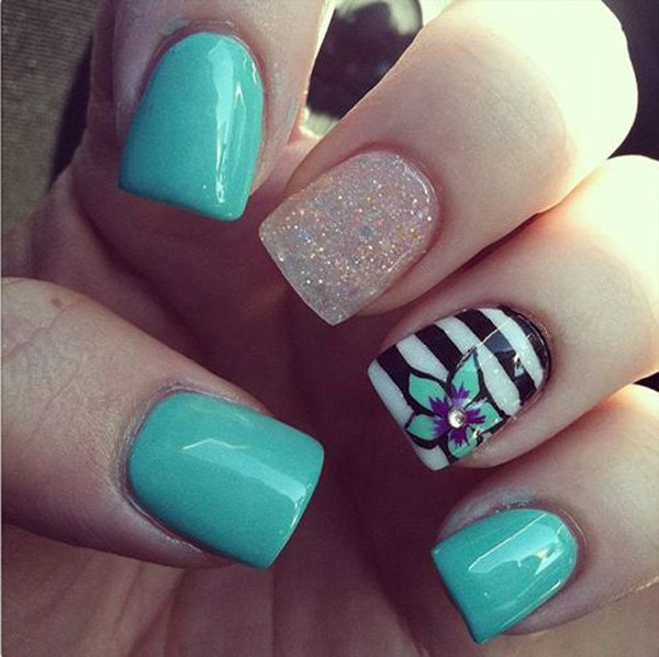 Sea Blue Strips and Flower Nail Design.