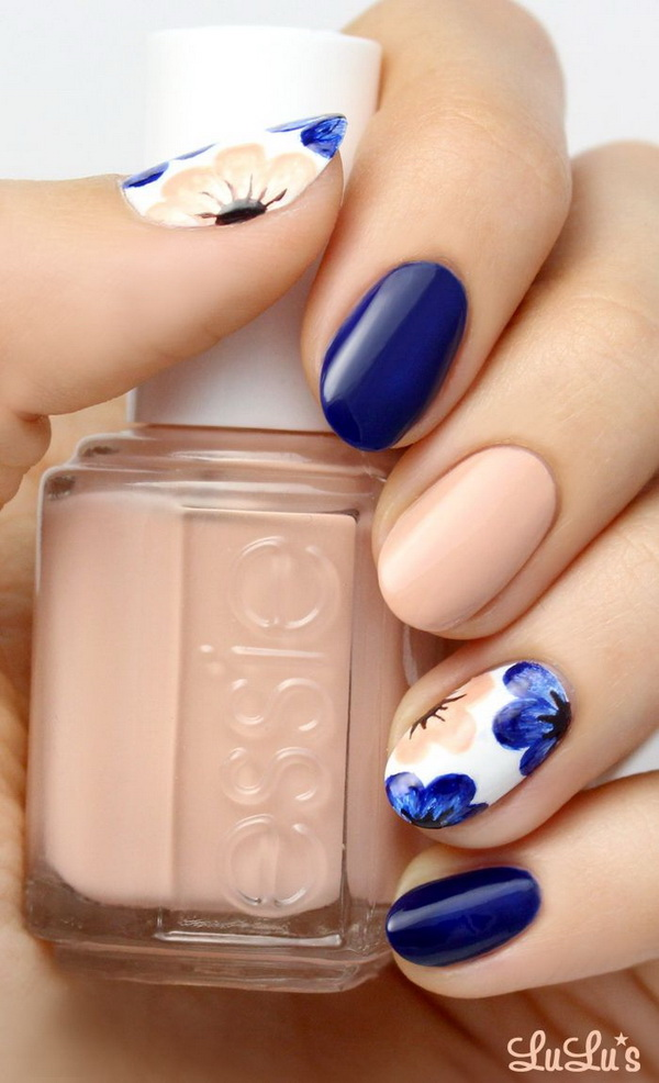Nude and Navy Blue Floral Nail.