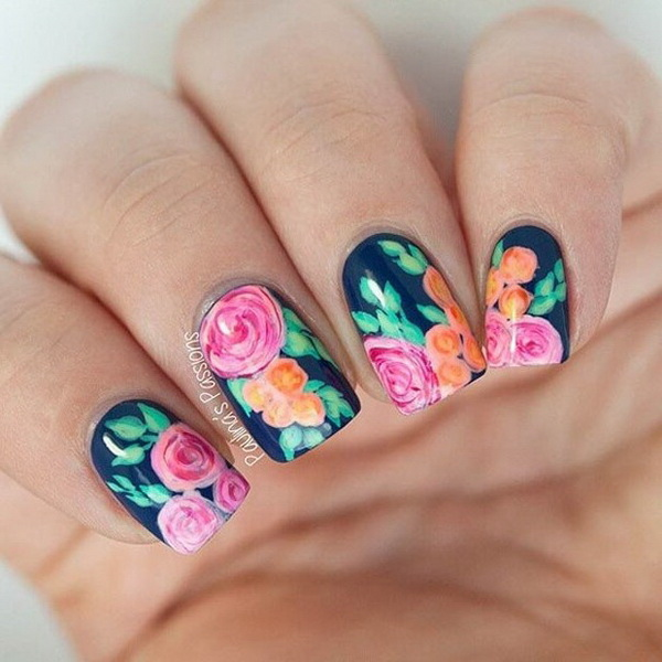 Navy Blue Floral Design - 45+ Pretty Flower Nail Designs - For Creative Juice