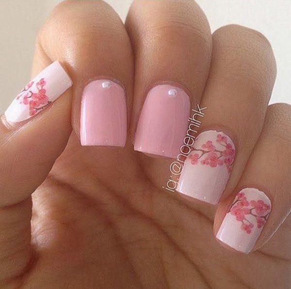 Pastel Pink Flower Nail Design.