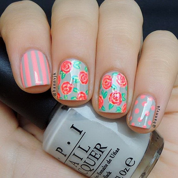 Mixed Pattern Flower Nail Design.