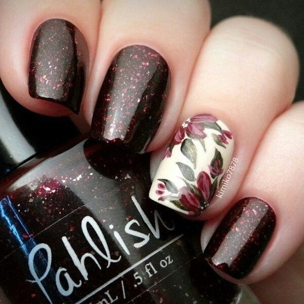 Brown and Glitter Flower Nails.