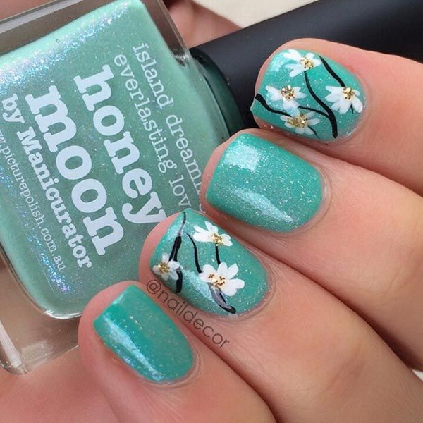 Flower Turquoise Short Nail Design.