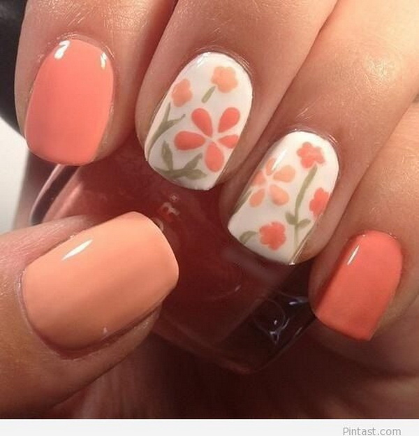 Coral Floral Nail Design.