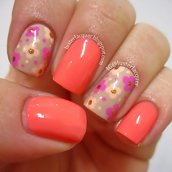 Neon Flower Nail Art Design.
