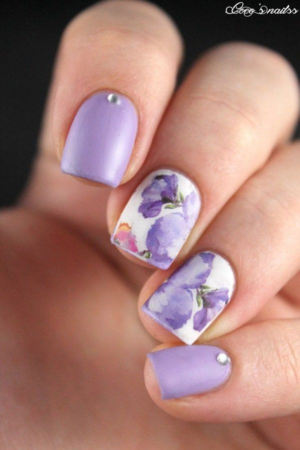 Watercolor and Flower Nail art - 45+ Pretty Flower Nail Designs - For Creative Juice