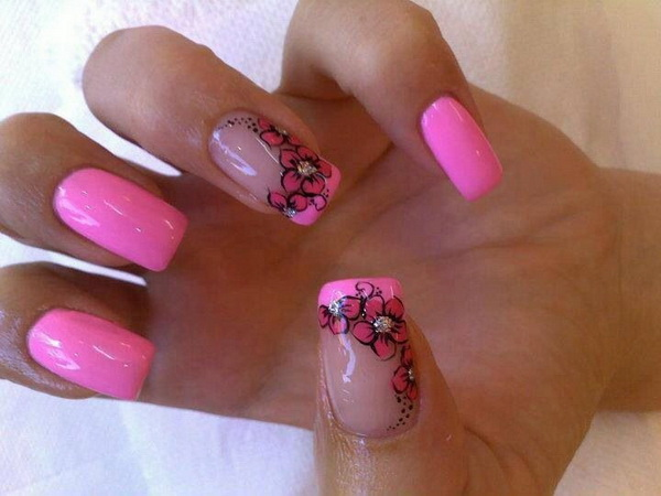 Pink Flower Nail Design.