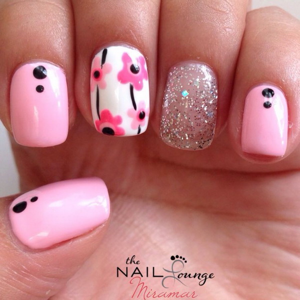 Pink Flower Nail Art Design.