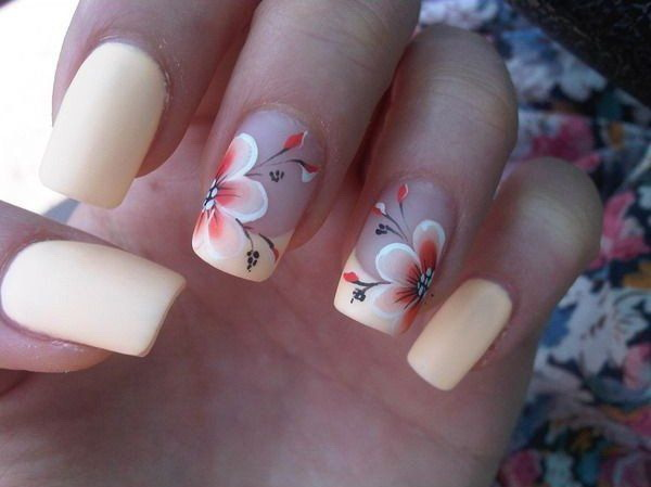 Creamy Matte Nail Design with Hibiscus Flowers.