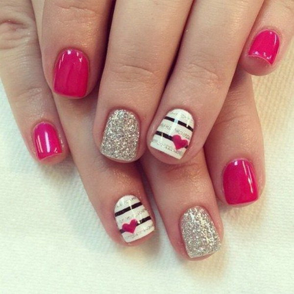 Hot Pink Nail Design with Glitter and Small Hearts - 45+ Romantic Heart Nail Art Designs - For Creative Juice
