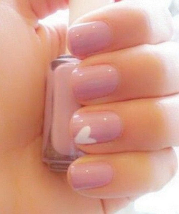 Pale Pink & White Heart Nails.