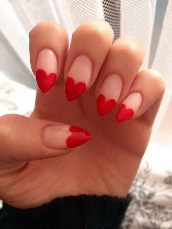 Red Heart Stiletto Nail Design.
