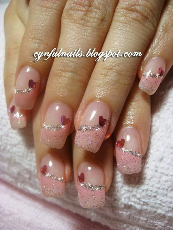 Pink Glitter French Tips Nail Design with Hearts.
