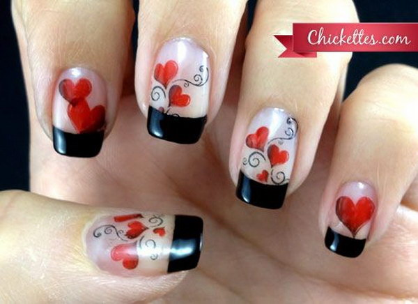 Black Tips & Red Hearts Nail Design.