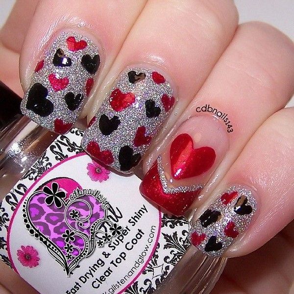 Hearts Nail Art Design.