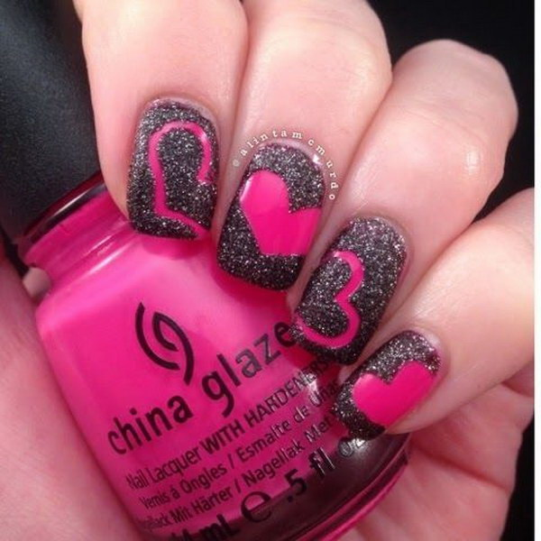 Hot Pink and Black Valentine Nails with Heart Accent.