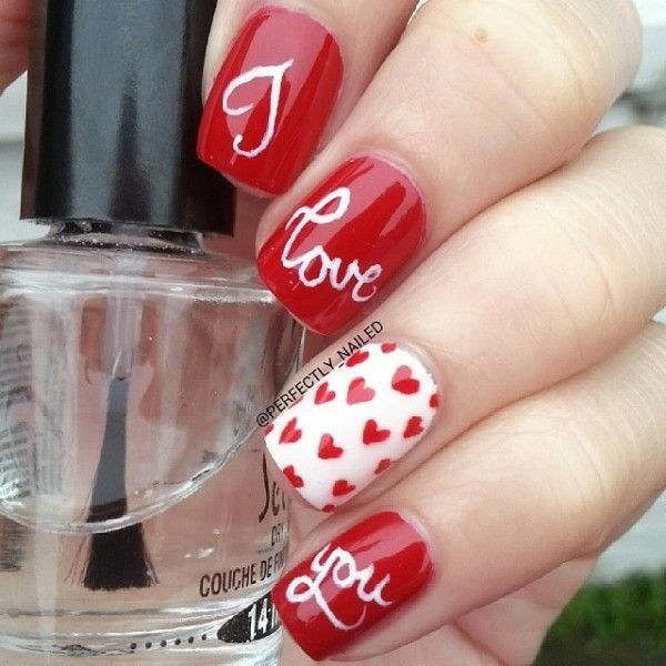 Heart & Strips Valentine's Nail Design - 45+ Romantic Heart Nail Art Designs - For Creative Juice