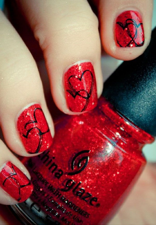 Heart Shaped Black and Red Valentine's Nail Design.