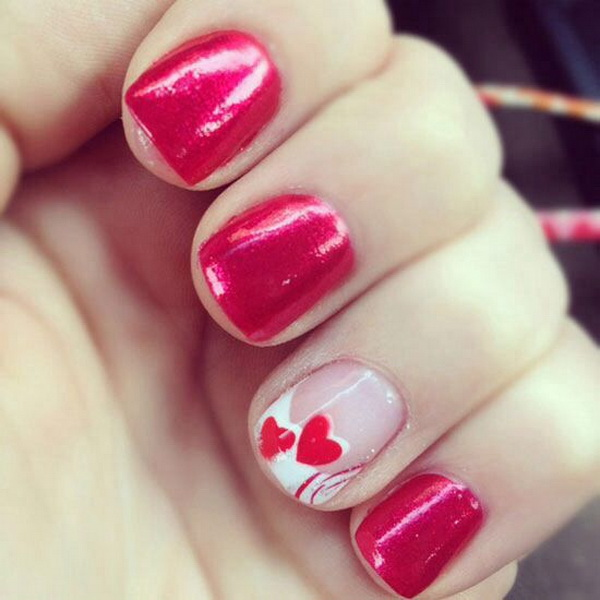 Red Heart Nail Art Design.