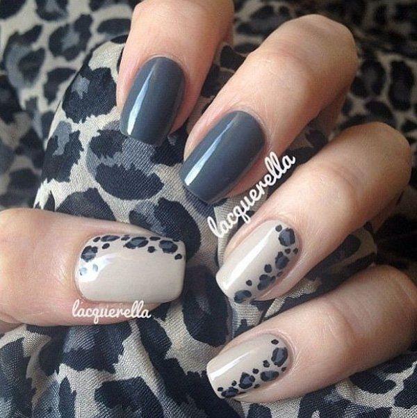 Dark Gray Animal Prints Nail Art Design.