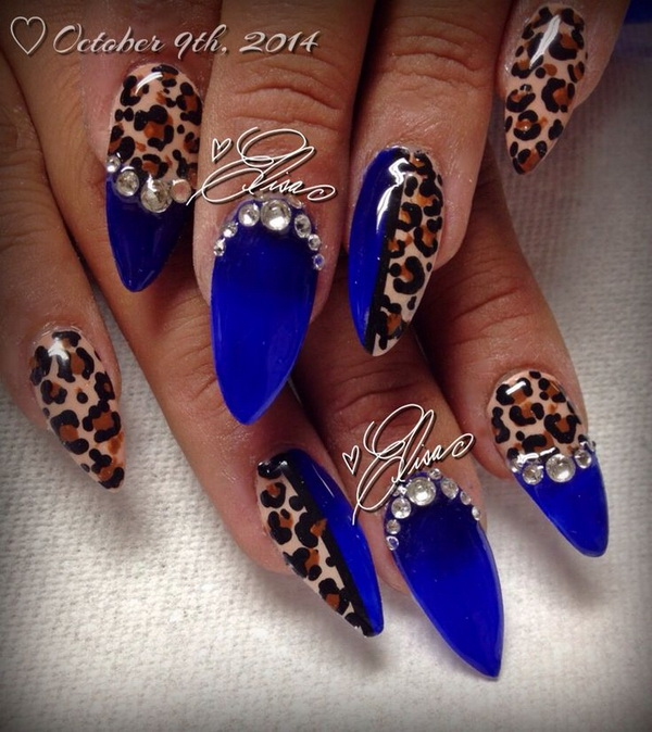 50 stylish leopard and cheetah nail designs for creative juice blue leopard print rhinestone nail prinsesfo Image collections