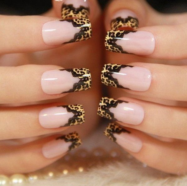 Leopard Print with Black Lace Nail Designs.