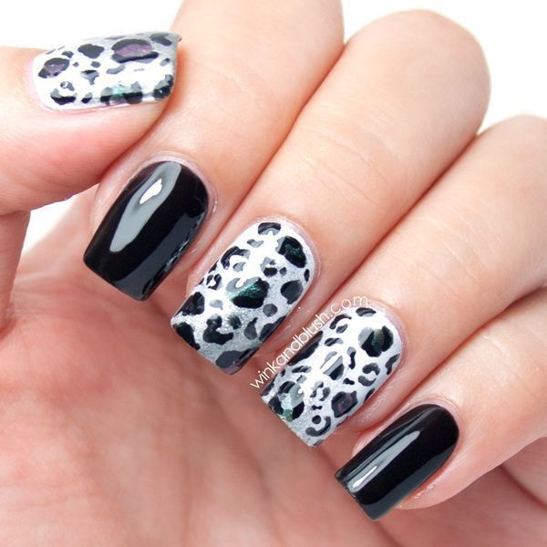 Black and white nail with leopard prints. - 50 Stylish Leopard And Cheetah Nail Designs - For Creative Juice