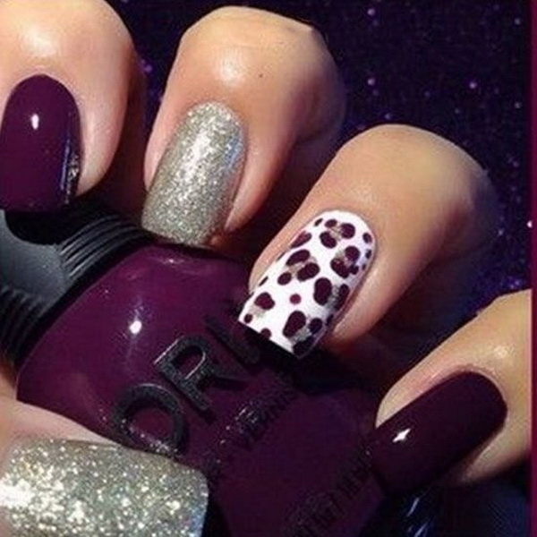 Dark purple and silver nail art with cheetah prints design. - 50 Stylish Leopard And Cheetah Nail Designs - For Creative Juice
